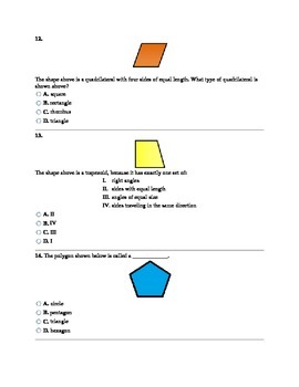 3rd Grade 2-Dimensional Shapes Assessment