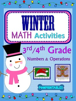 3rd & 4th - 2 Winter/Christmas Math Coloring Activities! - Hat and Gingerbread