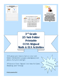 3rd Grade 25 CCSS Aligned Worksheets and Activities for Sub Tub