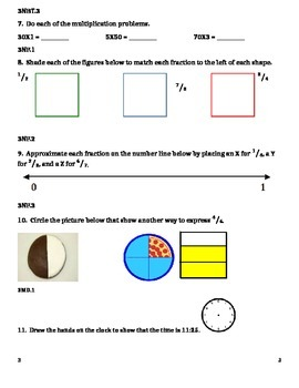3rd Grade 2nd Quarter Common Core Math Assessment (ANSWER KEY INCLUDED)