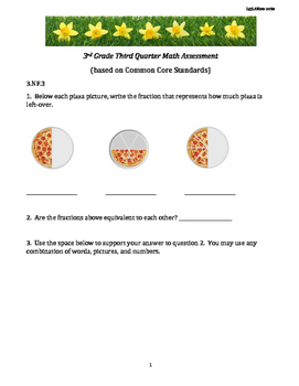 3rd Grade 3rd Quarter Common Core Math Assessment [INCLUDES ANSWER KEY]