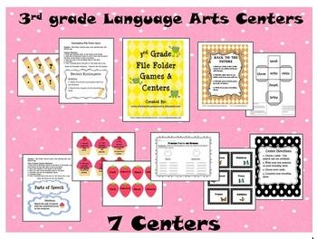3rd Grade - 7 Language Arts Centers (grammar & reading) 47 pages - Print & Go!