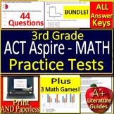 3rd Grade ACT Aspire Math Test Prep + Games Bundle - SELF-GRADING GOOGLE FORMS!