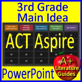 3rd Grade ACT Aspire Test Prep Main Idea and Text Evidence Game