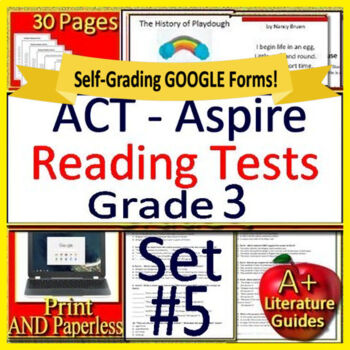 3rd Grade ACT Aspire Test Prep Reading Practice Tests #5 -  Google Ready!