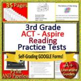 3rd Grade ACT Aspire Test Prep Reading Tests Print + SELF-GRADING GOOGLE FORMS!!