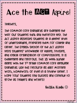 3rd Grade ACT Aspire Test Prep for English: Weeks 1-18 -- NO PREP!