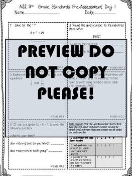 3rd Grade ALL MATH STANDARDS Pre/Post Assessment BUNDLE!
