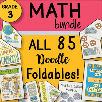 Math Doodles - 3rd Grade ALL the Foldables Bundle ~ Best 3rd Grade Math Notes