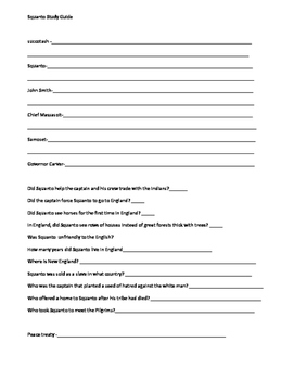 3rd Grade Abeka History Miles Standish, Pocahontas, and Squanto Study Guides