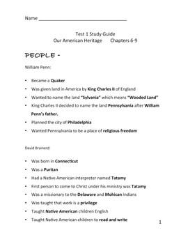3rd Grade Abeka History William Penn, Benjamin Franklin, Paul Revere Study Guide