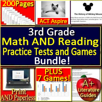3rd Grade Act Aspire Reading AND Math Test Prep Practice Tests and Games Bundle!