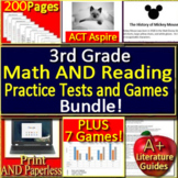 3rd Grade Act Aspire Test Prep Reading AND Math Test Games Bundle! SELF-GRADING!