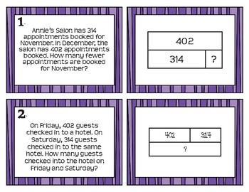 3rd Grade Addition/Subtraction Word Problem, Model, and Equation Match Cards