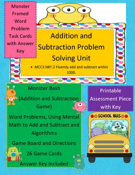 3rd Grade Addition and Subtraction- Game and Task Cards Bundle