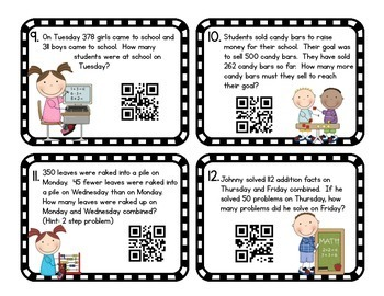 3rd Grade Addition and Subtraction Task Cards: Includes QR Codes!