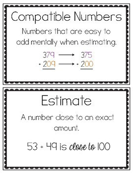 3rd Grade Addition and Subtraction Vocabulary Cards