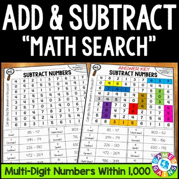 3rd Grade Addition and Subtraction Within 1000 Math Search {3.NBT.2}