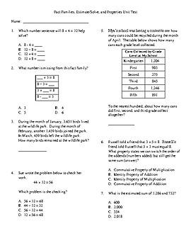 3rd Grade Addition/subtraction, fact families, estimate/Solve, Properties Test