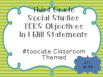 3rd Grade All Subjects Objectives TEKS based. #toocute  10% Discount
