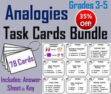 Completing Analogies Task Cards: 3rd - 5th Grade Vocabulary Practice Bundle