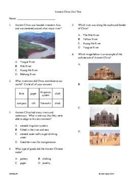 3rd Grade Ancient China Unit Test