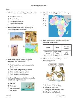 3rd Grade Ancient Egypt Unit Test