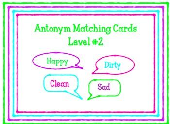 I-READ Prep ANTONYM Matching Cards Level #2