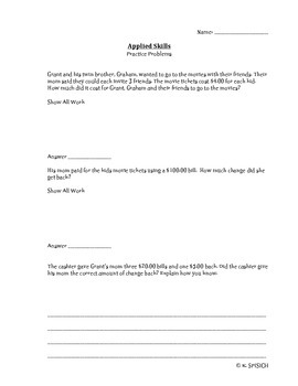 3rd Grade Applied Skills Practice- Standardize Test Prep