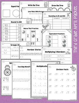 3rd Grade April / Easter / Spring No Prep Math and Literacy Packet