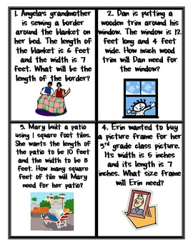 3rd Grade Area and Perimeter Task Cards