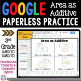 3rd Grade Area as Additive & Distributive Property {3.MD.7C, 3.MD.7D} Google