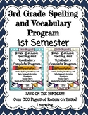 3rd Grade August-December Spelling and Vocabulary Complete Program Semester 1