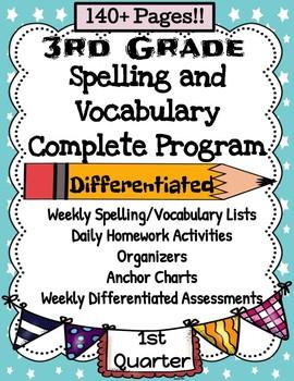 3rd Grade August-December Spelling and Vocabulary Complete Program Semester 1