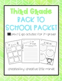 3rd Grade Back To School Packet