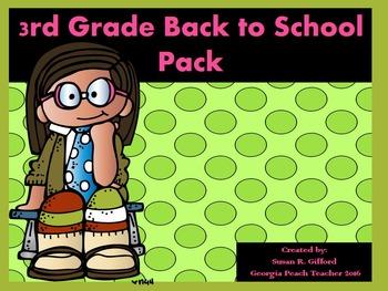 3rd Grade Back to School Activity Bundle