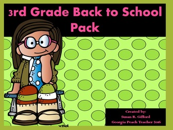 3rd Grade Back to School Activity Bundle