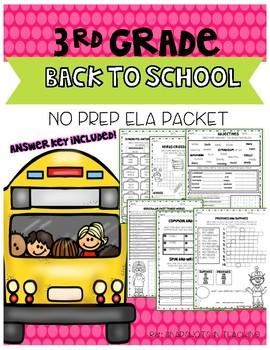 3rd Grade Back to School ELA No Prep Pack