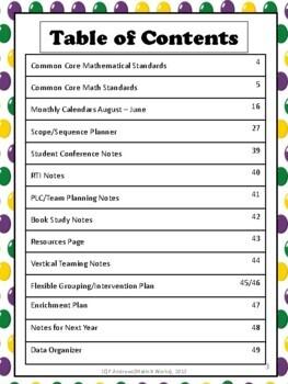 3rd Grade Teacher Binder Common Core Math Planner