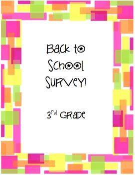 3rd Grade Back to School Survey