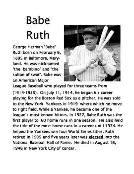 3rd Grade Baseball Biography comprehension activities