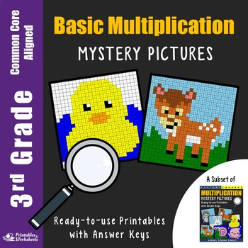 Multiplication Centers for 3rd Grade, Math Facts Worksheets Mystery Picture