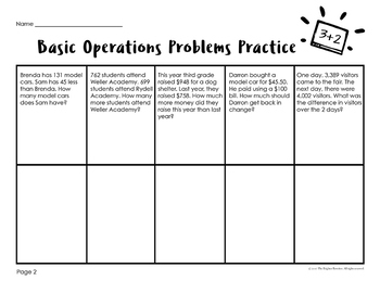 Word Problems 3rd Grade Basic Operations