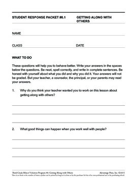 3rd Grade Behavior Improvement Packet: Get Along with Others