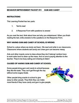 3rd Grade Behavior Improvement Packet: Gum and Candy