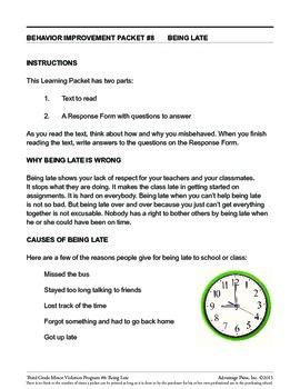 3rd Grade Behavior Improvement Packet: Late