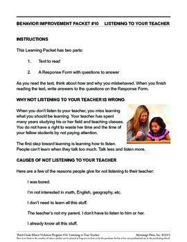 3rd Grade Behavior Improvement Packet: Listen to Your Teacher