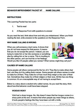 3rd Grade Behavior Improvement Packet: Name Calling