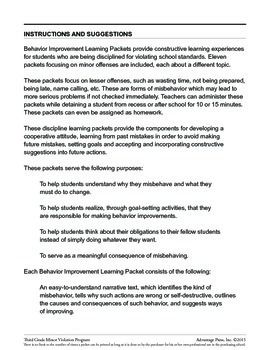 3rd Grade Behavior Improvement Packet: Talking