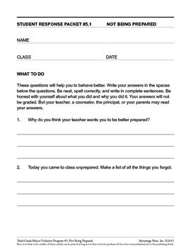 3rd Grade Behavior Improvement Packet: Unprepared